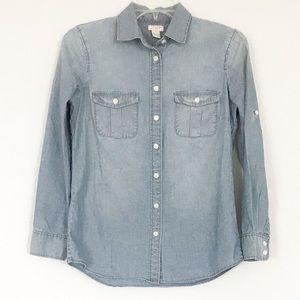 J Crew denim button up petite shirt